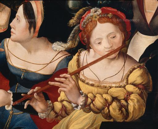 A Renaissance courtesan playing the flute.
