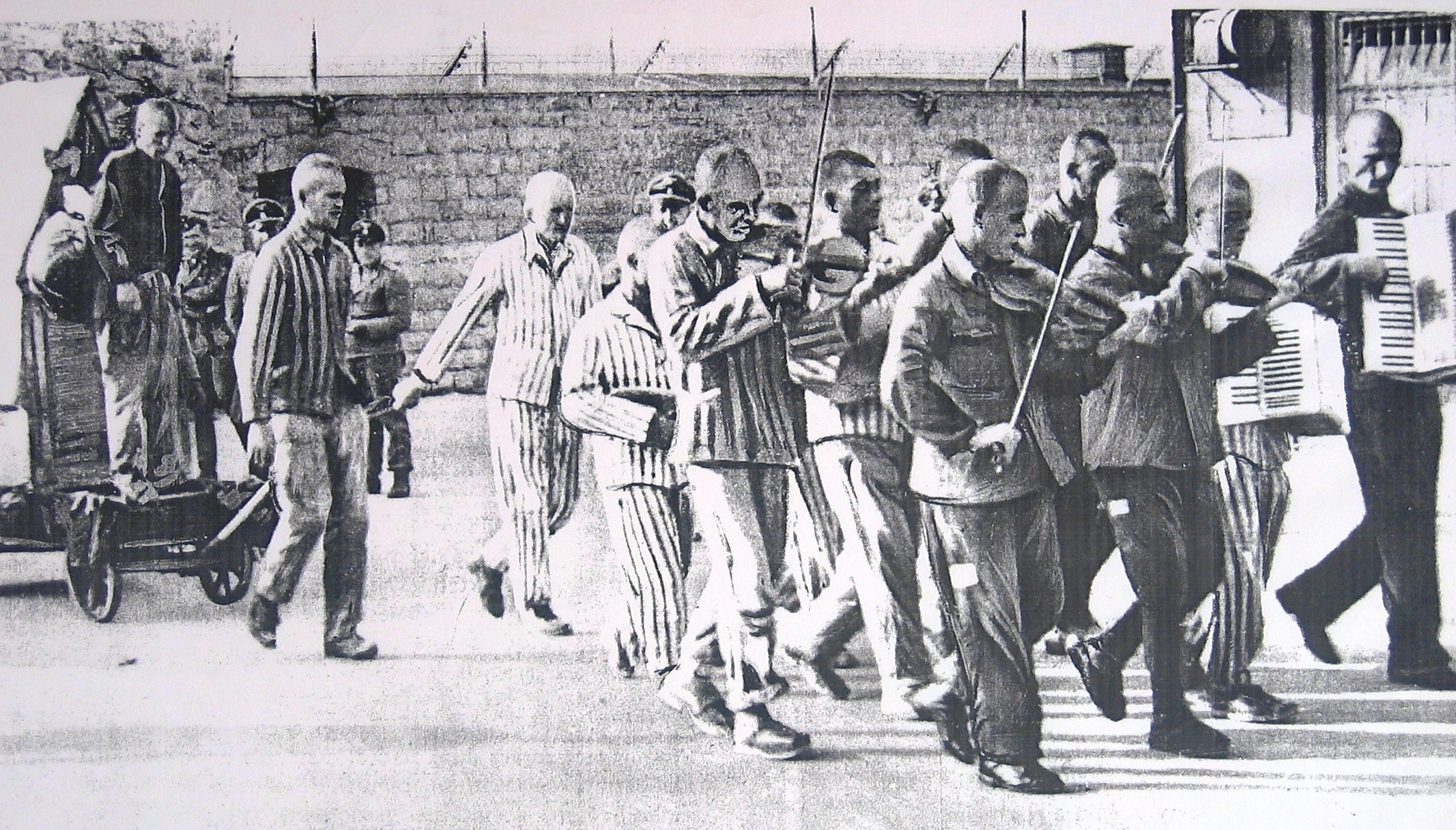 Prisoner escorted to execution by camp orchestra.