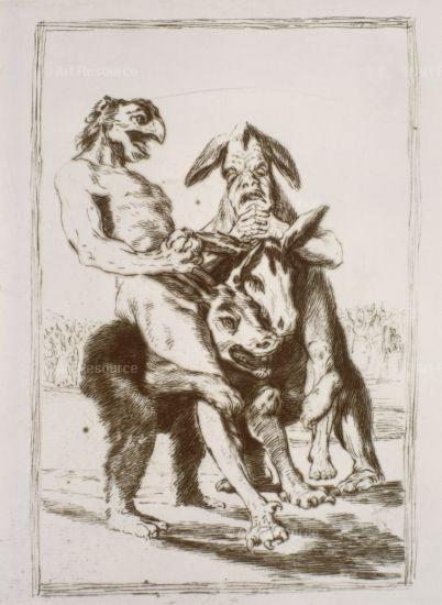 Goya's drawing of grotesque men