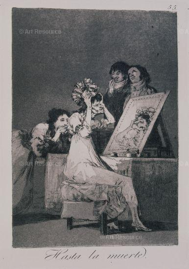 Goya etching. woman at a mirror